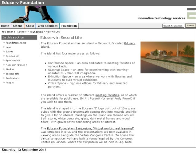 Surveying Virtual World use in UK Higher and Further Education Slide 2