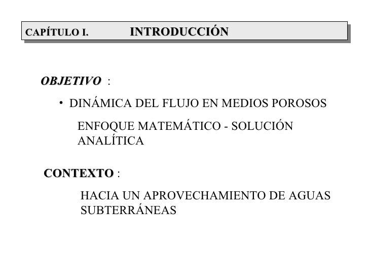 CAPÍTULOCAPÍTULO II.    INTRODUCCIÓN  OBJETIVO :      • DINÁMICA DEL FLUJO EN MEDIOS POROSOS         ENFOQUE MATEMÁTICO - ...