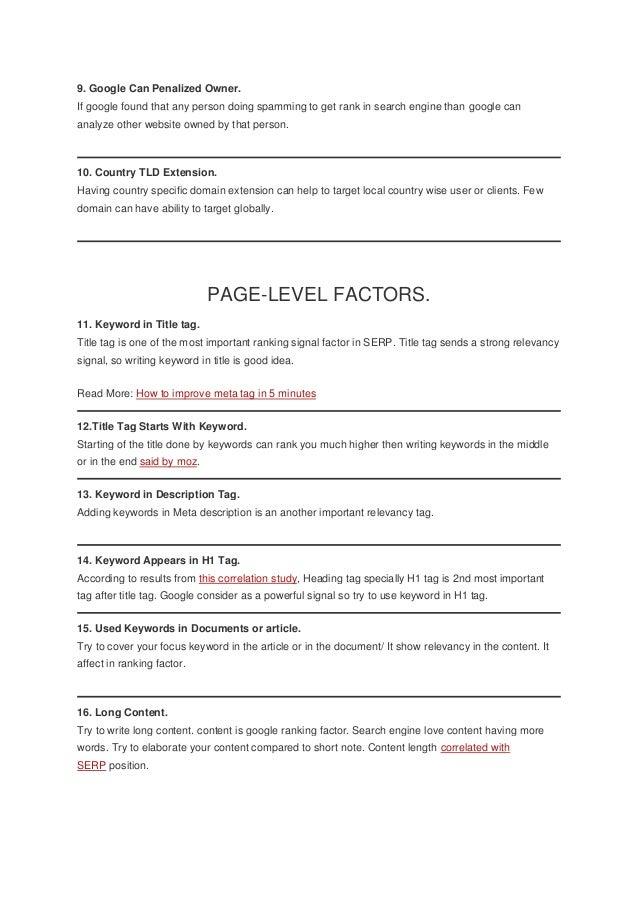 Complete Cracking List Of 200 SEO Google Ranking Factors