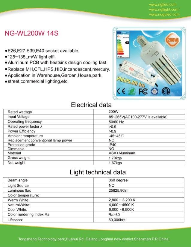 E40 200W LED Corn Light External Power