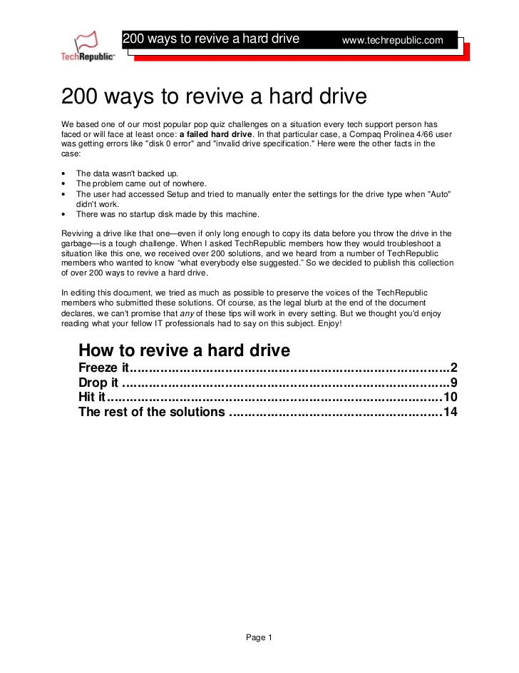 how to revive my hard drive