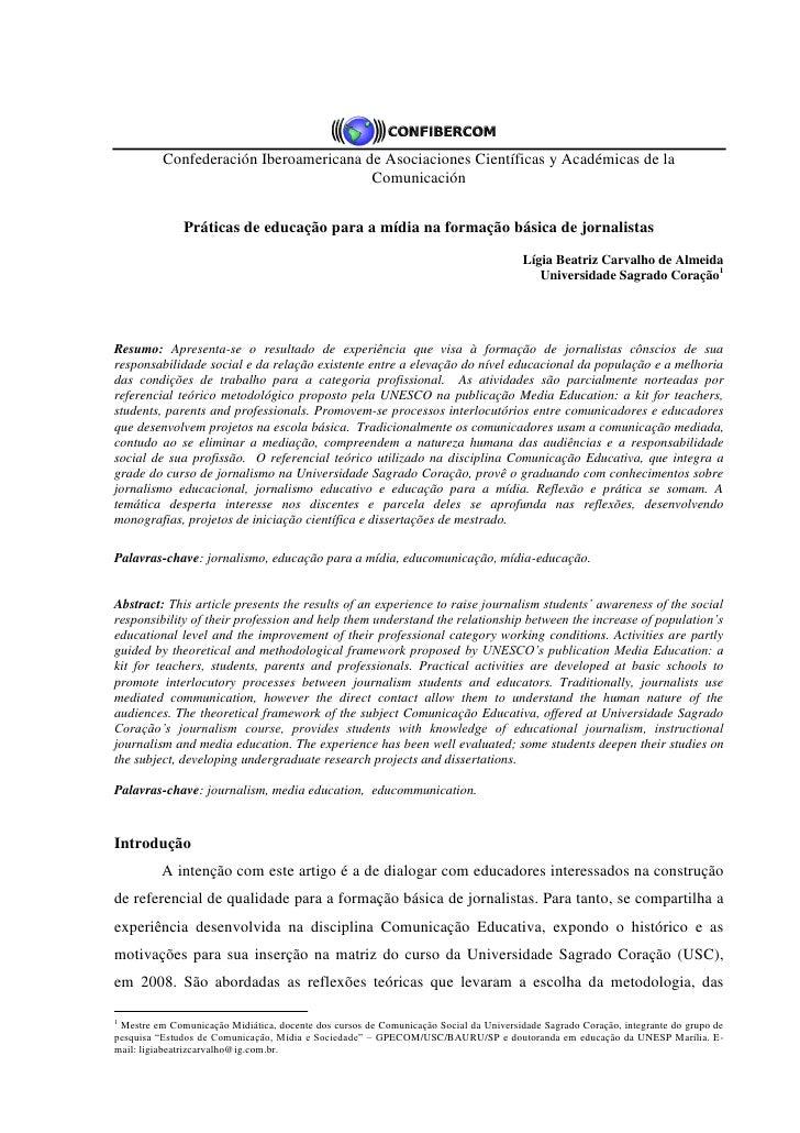 Confederación Iberoamericana de Asociaciones Científicas y Académicas de la                                        Comunic...