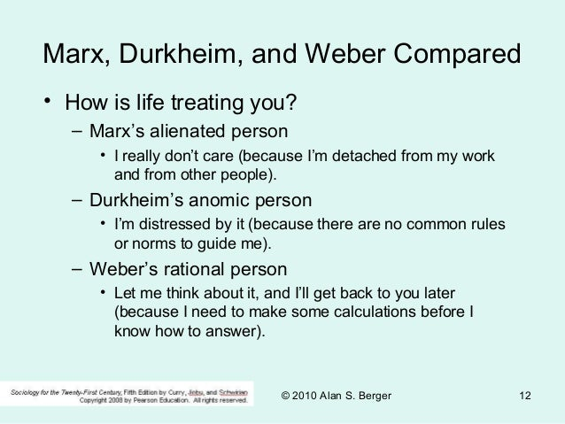 Compare and Contrast Marx, Durkheim and Weber Essay