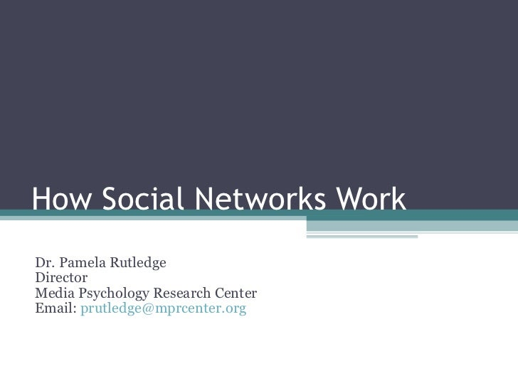 How Social Networks Work Dr. Pamela Rutledge Director Media Psychology Research Center Email:  [email_address]