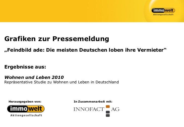 """Grafiken zur Pressemeldung""""Feindbild ade: Die meisten Deutschen loben ihre Vermieter""""Ergebnisse aus:Wohnen und Leben 2010R..."""