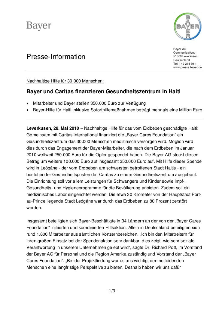 Bayer AG                                                                             CommunicationsPresse-Information     ...