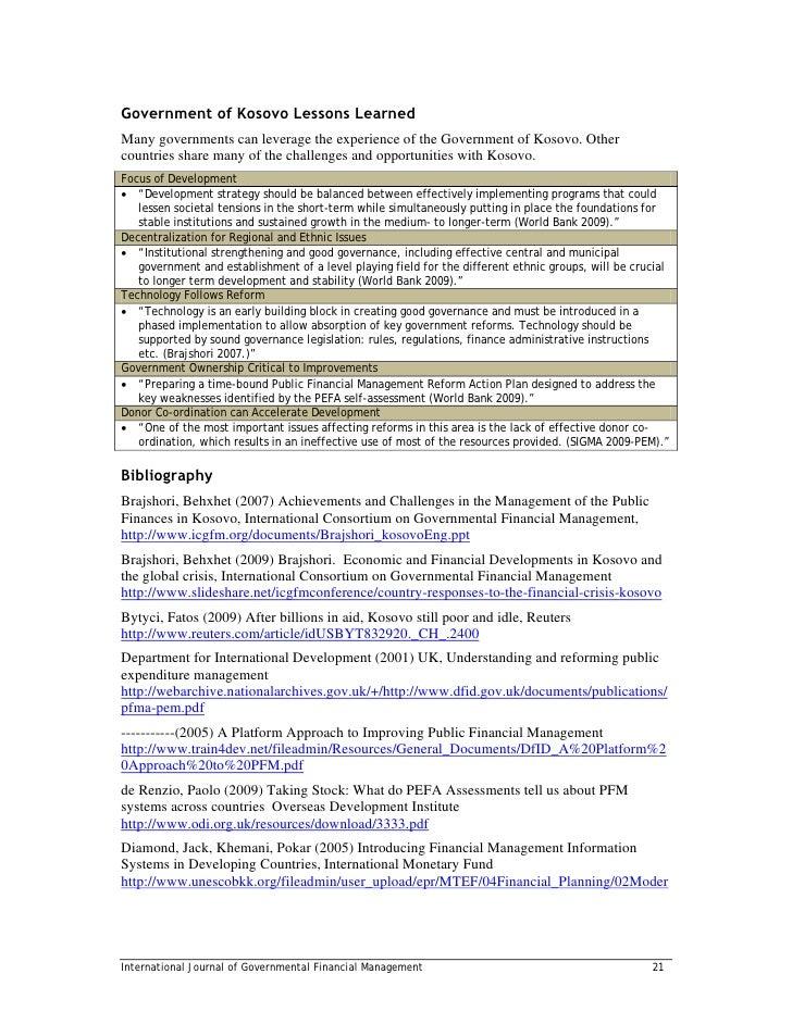 ... coordinationInternational Journal of Governmental Financial Management  20; 28.