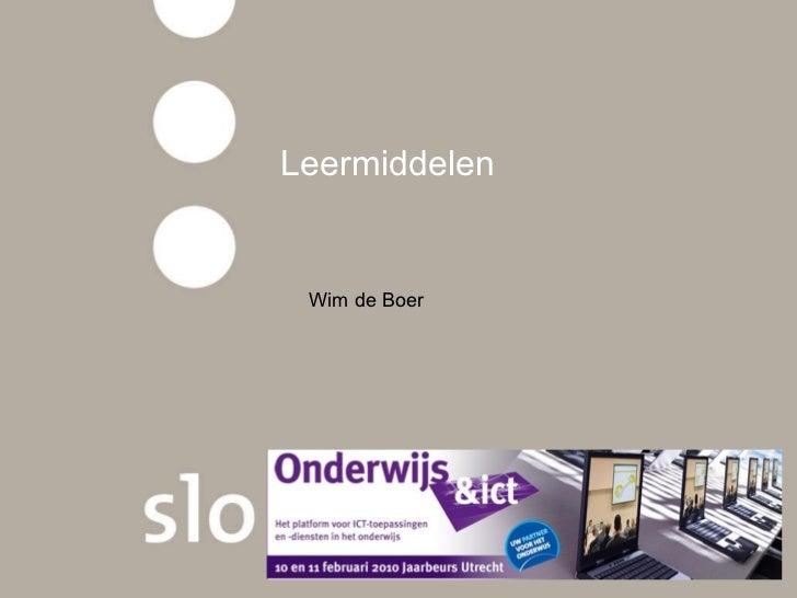 Leermiddelen  Wim de Boer