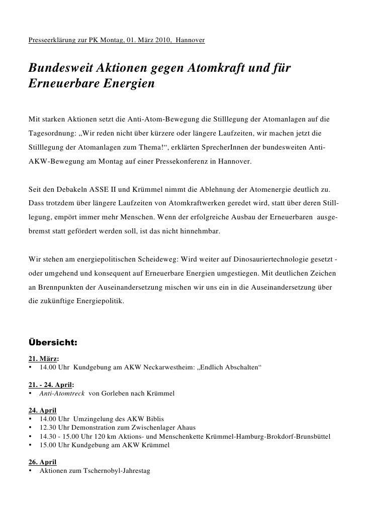 Presseerklärung zur PK Montag, 01. März 2010, Hannover    Bundesweit Aktionen gegen Atomkraft und für Erneuerbare Energien...