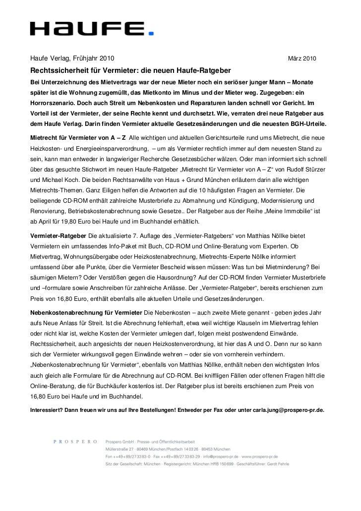 Haufe Verlag, Frühjahr 2010                                                                      März 2010Rechtssicherheit...