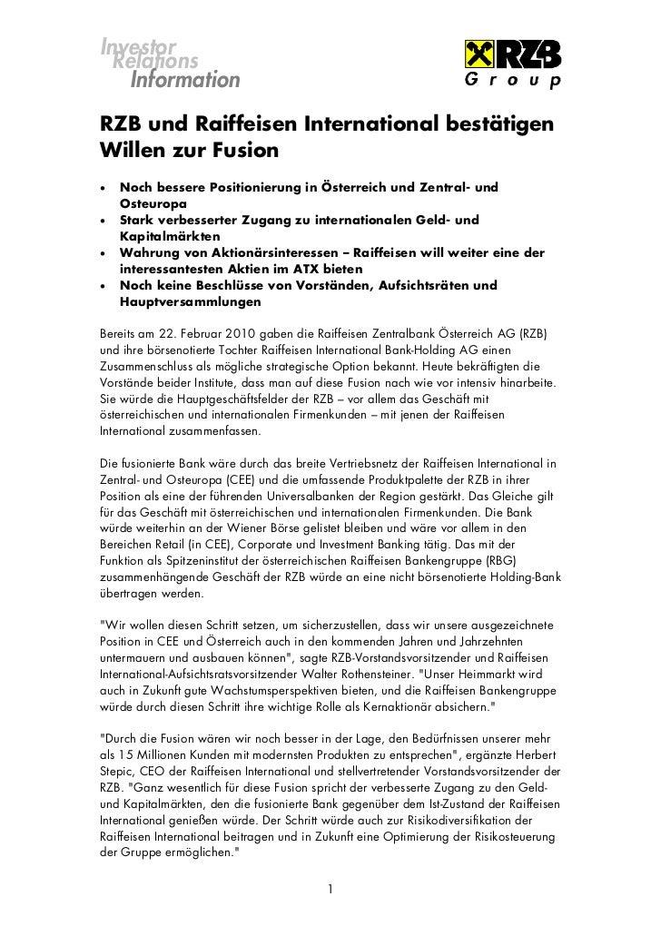 Investor  Relations    InformationRZB und Raiffeisen International bestätigenWillen zur Fusion   Noch bessere Positionier...