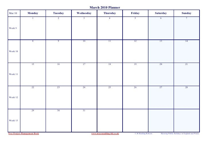 March 2010 Planner Mar 10           Monday        Tuesday   Wednesday           Thursday           Friday                 ...