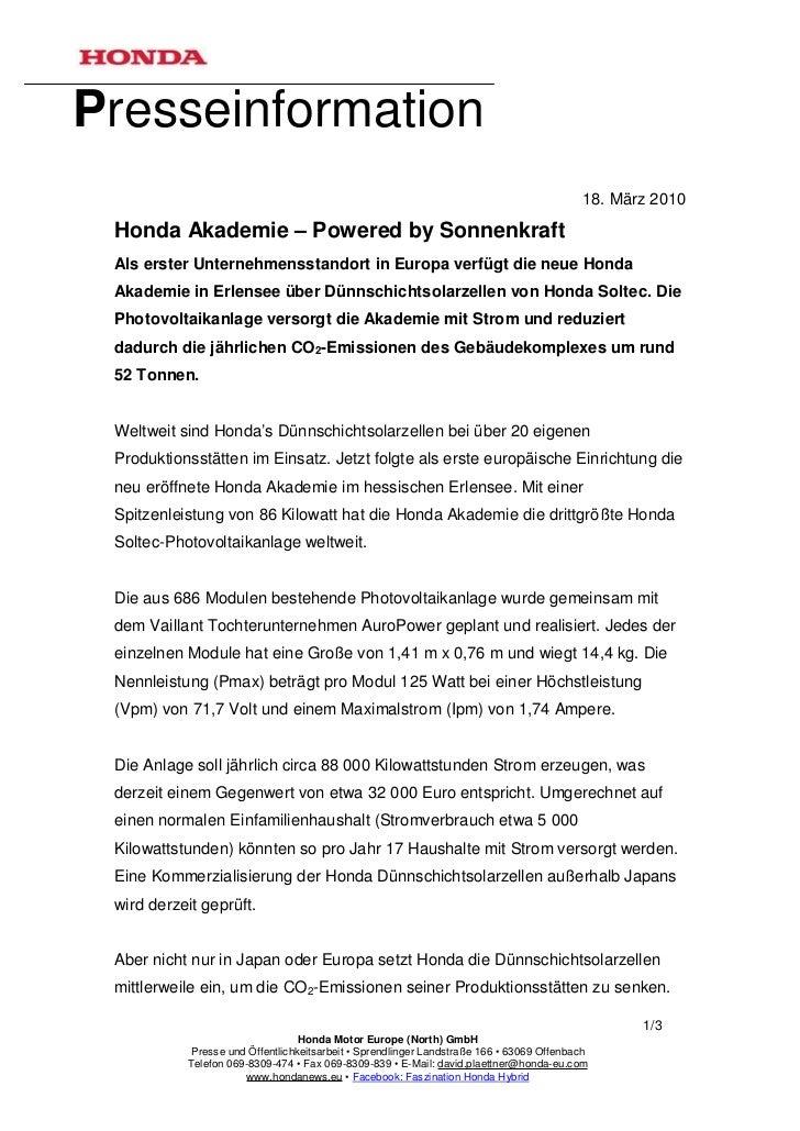 Presseinformation                                                                                          18. März 2010 H...