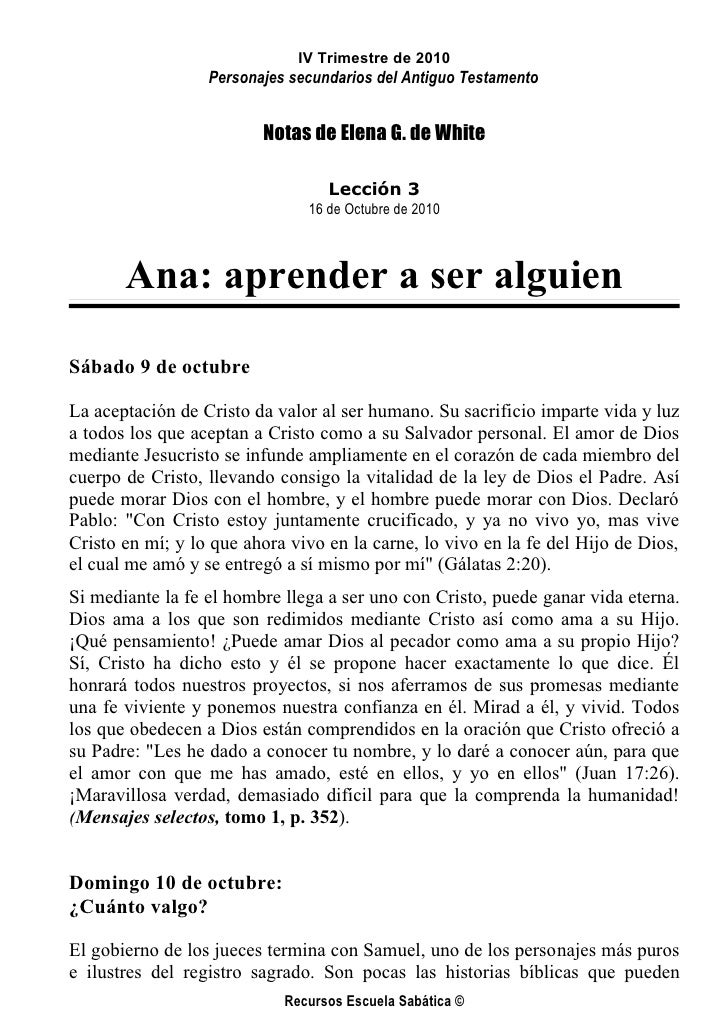 IV Trimestre de 2010                   Personajes secundarios del Antiguo Testamento                            Notas de E...