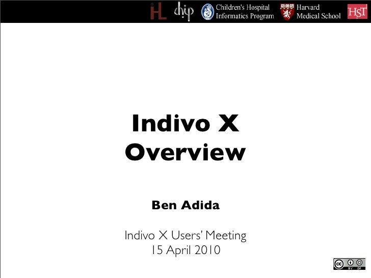 Indivo X Overview      Ben Adida  Indivo X Users' Meeting      15 April 2010