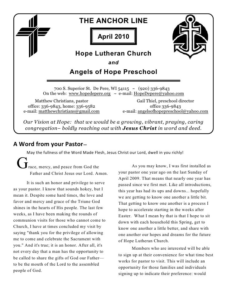 THE ANCHOR LINE                                                 April 2010                                     Hope Luther...