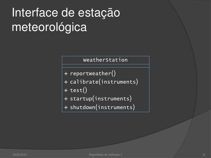 Teste da estação meteorológica<br />Necessário definir casos de teste para<br />reportWeather()<br />calibrate()<br />test...