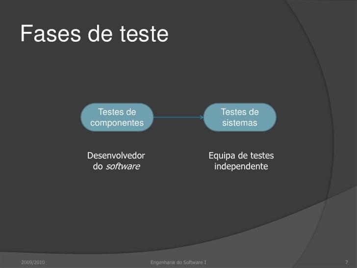 Fases de teste<br />2009/2010<br />7<br />Engenharia do Software I<br />Testes de componentes<br />Testes de sistemas<br /...