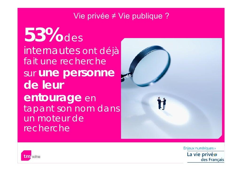 Vie privée ≠ Vie publique ?  53% des internautes ont déjà fait une recherche sur une personne de leur entourage en tapant ...