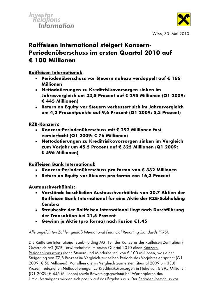 Investor  Relations    Information                                                                       Wien, 30. Mai 201...