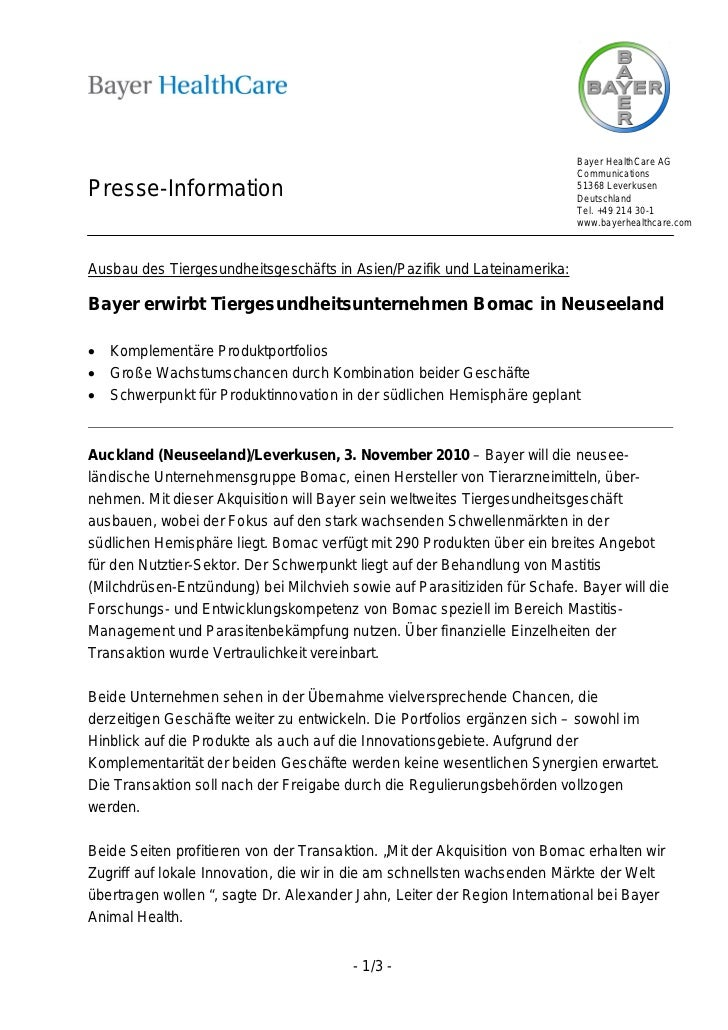 Bayer HealthCare AG                                                                           CommunicationsPresse-Informa...