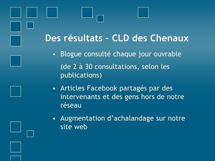 Des résultats – CLD des Chenaux<br />Blogue consulté chaque jour ouvrable <br />(de 2 à 30 consultations, selon les publi...