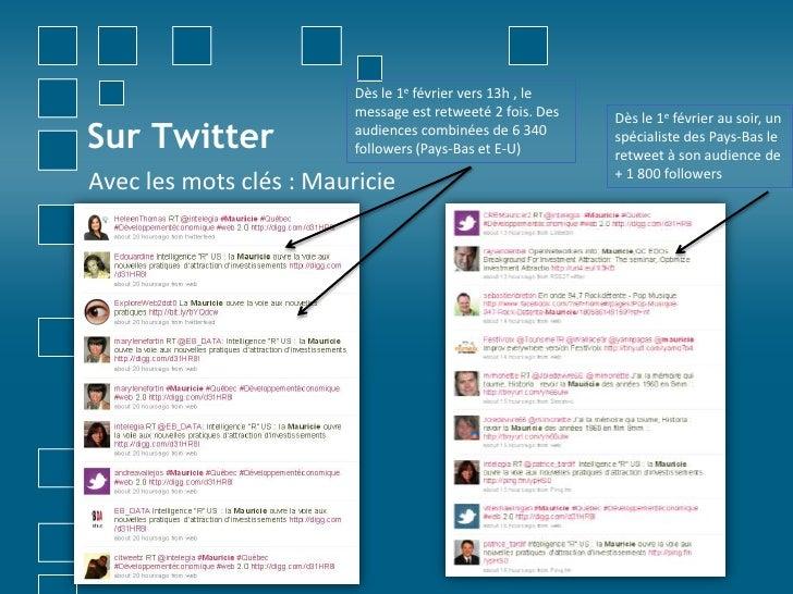 Sur Twitter<br />Dès le 1e février vers 13h , le message est retweeté 2 fois. Des audiences combinées de 6 340 followers (...
