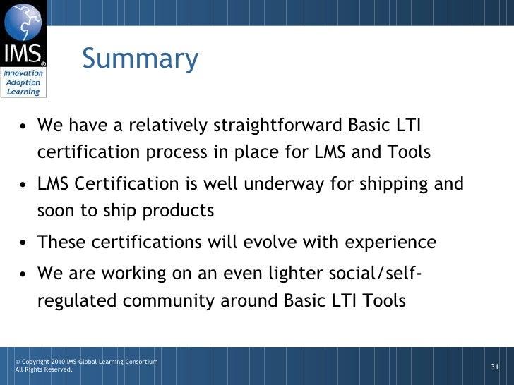 IMS Basic LTI Certification