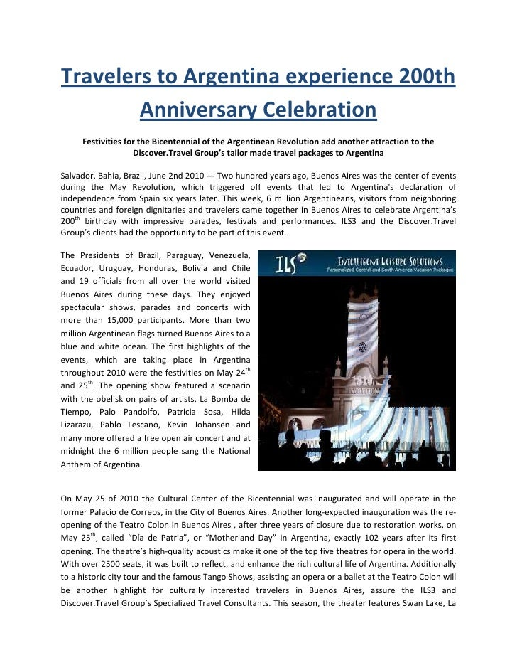 Travelers to Argentina experience 200th         Anniversary Celebration      Festivities for the Bicentennial of the Argen...
