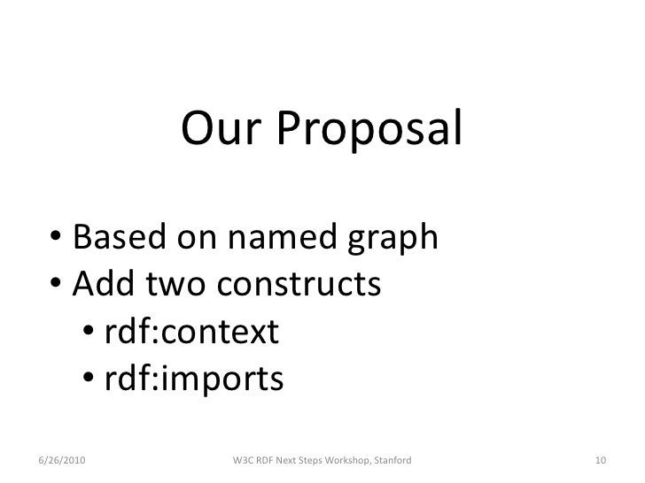 Our Proposal   • Based on named graph   • Add two constructs     • rdf:context     • rdf:imports 6/26/2010     W3C RDF Nex...
