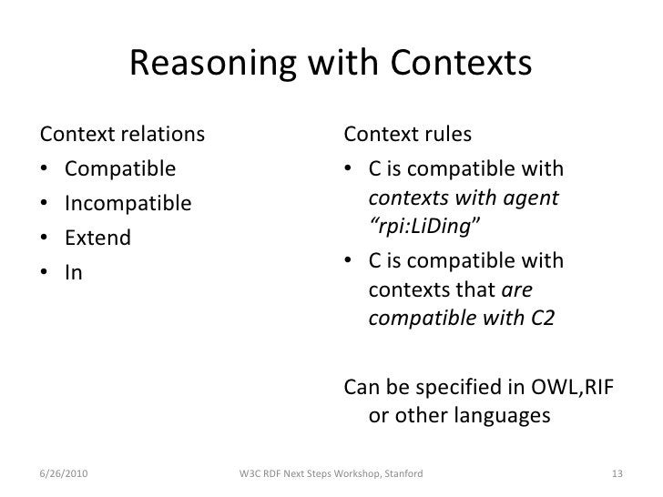 Reasoning with Contexts Context relations                       Context rules • Compatible                            • C ...