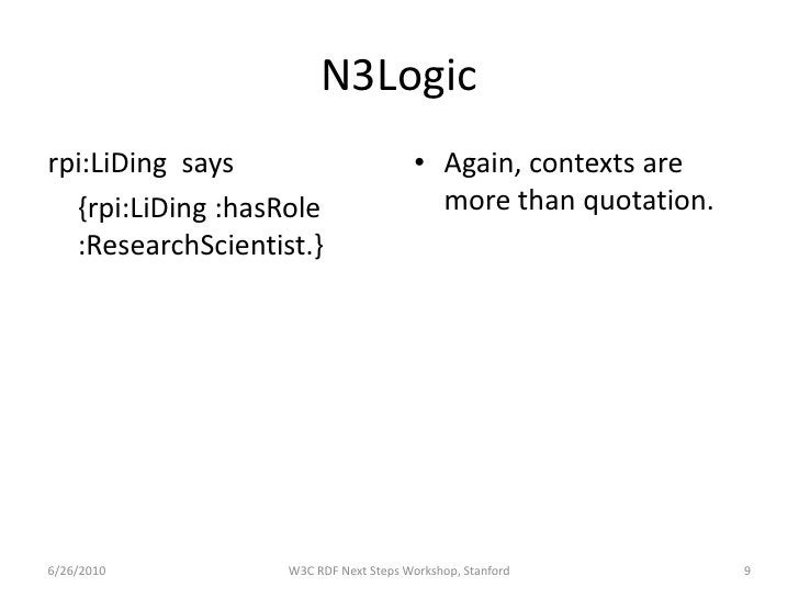 N3Logic rpi:LiDing says                        • Again, contexts are   {rpi:LiDing :hasRole                   more than qu...