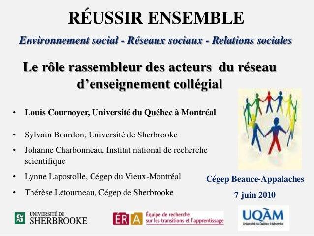 RÉUSSIR ENSEMBLE Environnement social - Réseaux sociaux - Relations sociales Cégep Beauce-Appalaches 7 juin 2010 • Louis C...