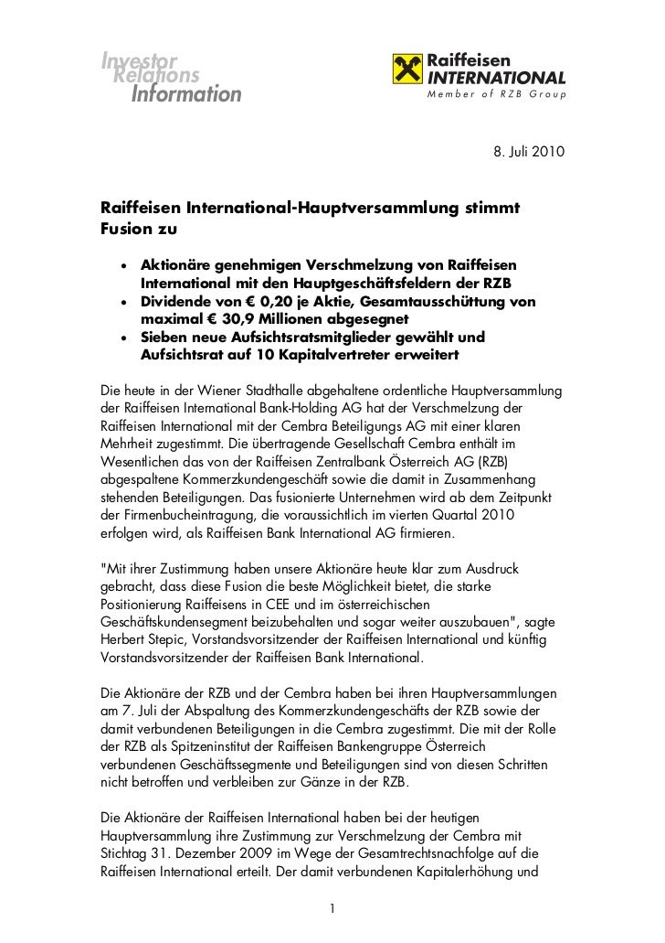 Investor  Relations    Information                                                                   8. Juli 2010Raiffeise...