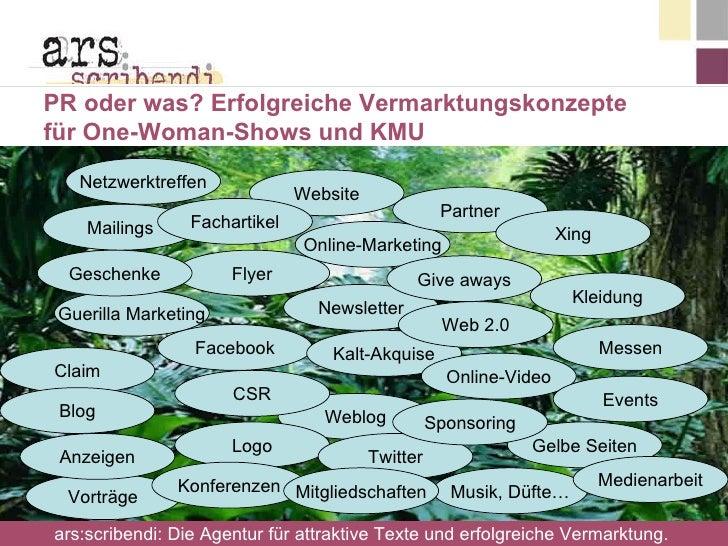 PR oder was? Erfolgreiche Vermarktungskonzepte  für One-Woman-Shows und KMU Facebook Flyer Netzwerktreffen Vorträge Gueril...