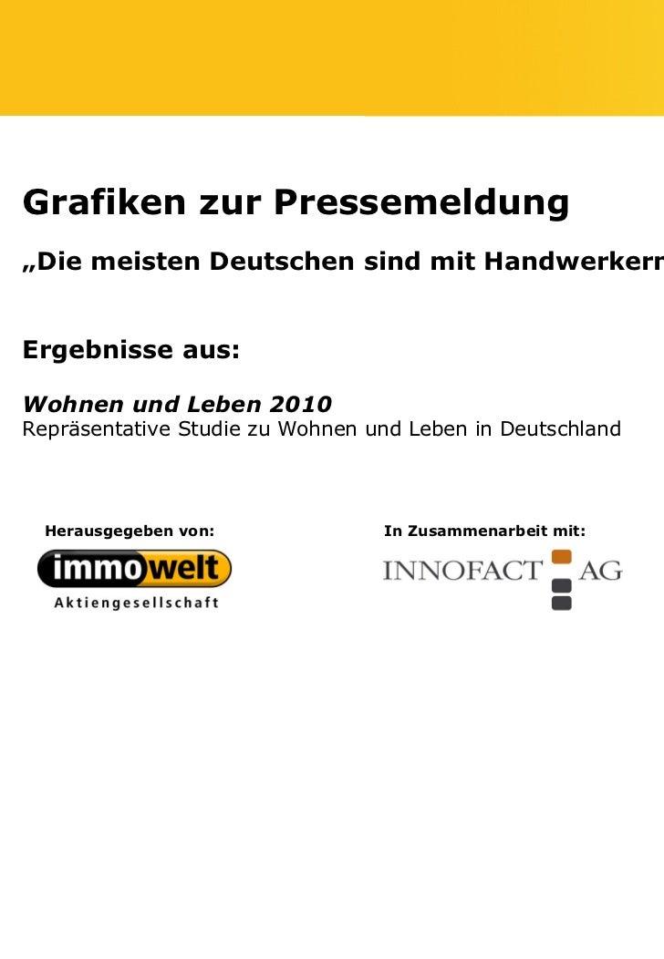 """Grafiken zur Pressemeldung""""Die meisten Deutschen sind mit Handwerkern zufrieden""""Ergebnisse aus:Wohnen und Leben 2010Repräs..."""