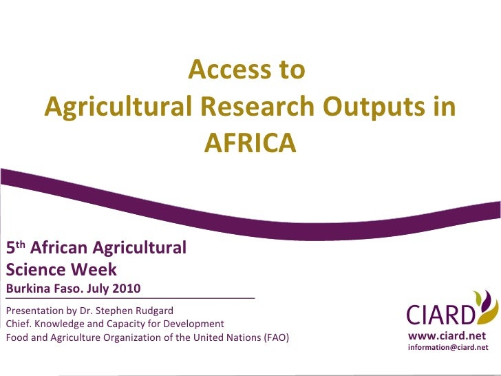 Presentation by Dr. Stephen Rudgard Chief. Knowledge and Capacity for Development Food and Agriculture Organization of the...