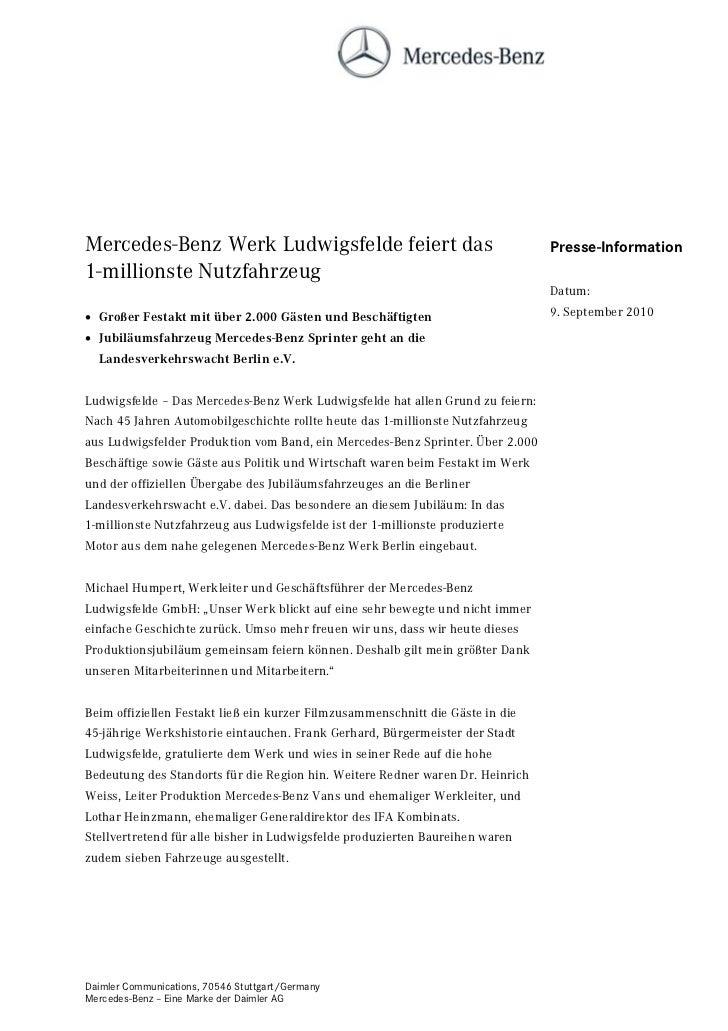 Mercedes-Benz Werk Ludwigsfelde feiert das                                      Presse-Information1-millionste Nutzfahrzeu...