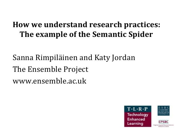 How we understand research practices: The example of the Semantic SpiderSanna Rimpiläinen and Katy JordanThe Ensemble Proj...