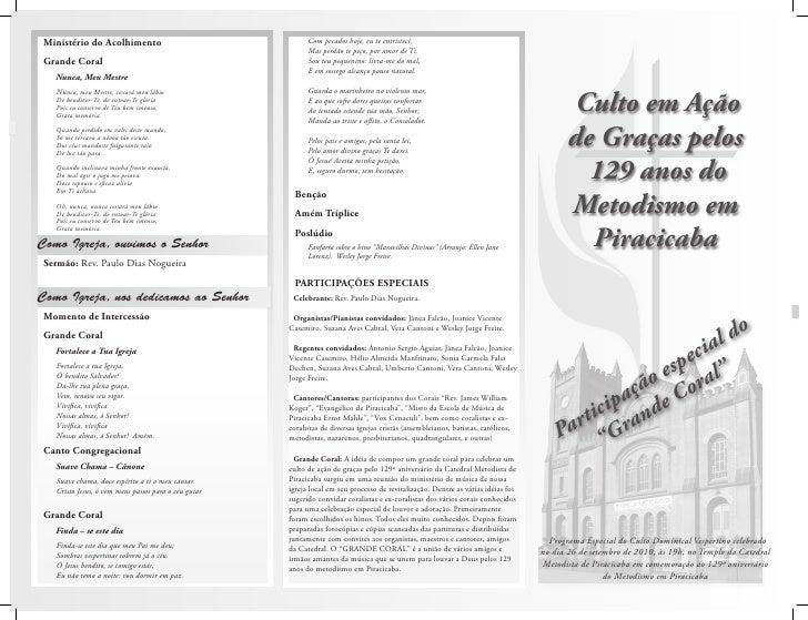 Culto em Ação        de Graças pelos          129 anos do        Metodismo em          Piracicaba                         ...