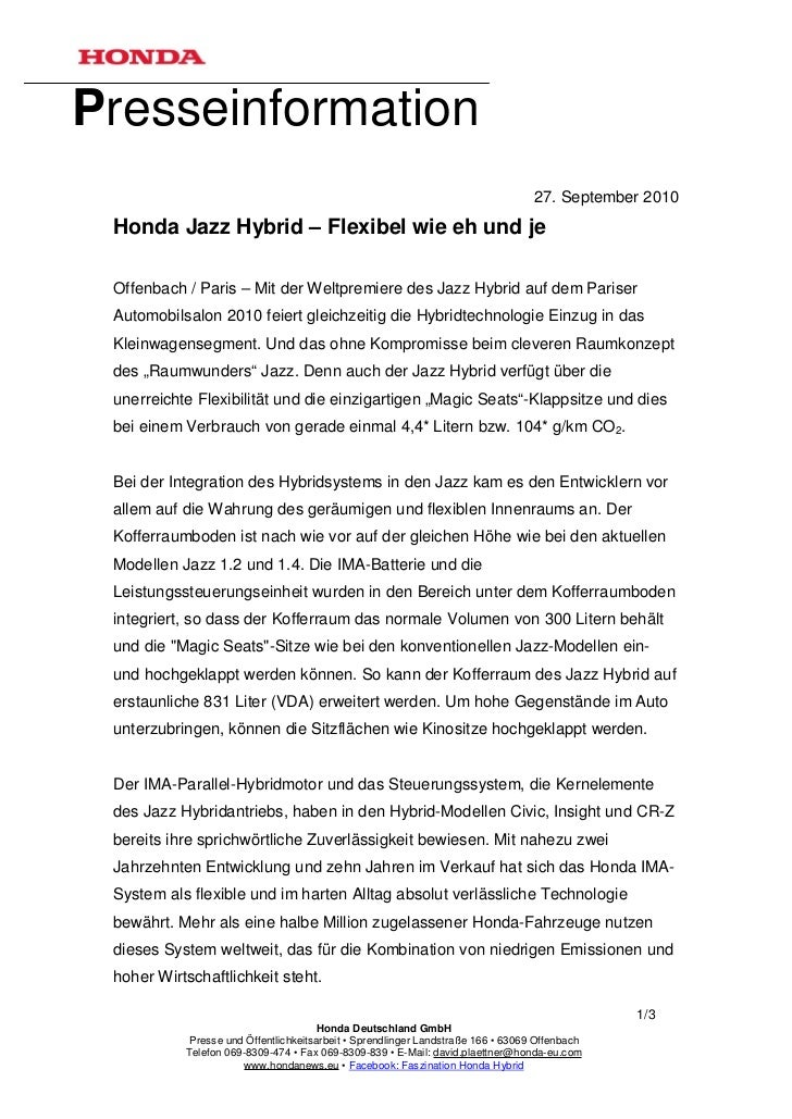 Presseinformation                                                                                  27. September 2010 Hond...