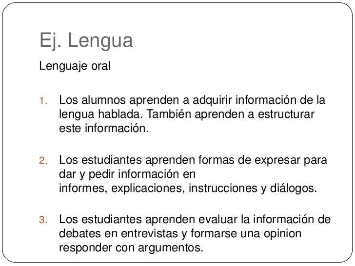 Ej. Lengua<br />Lenguaje oral<br />Los alumnos aprenden a adquirir información de la lengua hablada.También aprenden a es...
