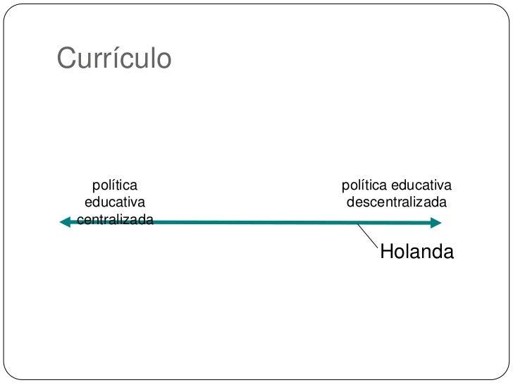 Currículo<br />política educativa centralizada<br />política educativa descentralizada<br />Holanda<br />
