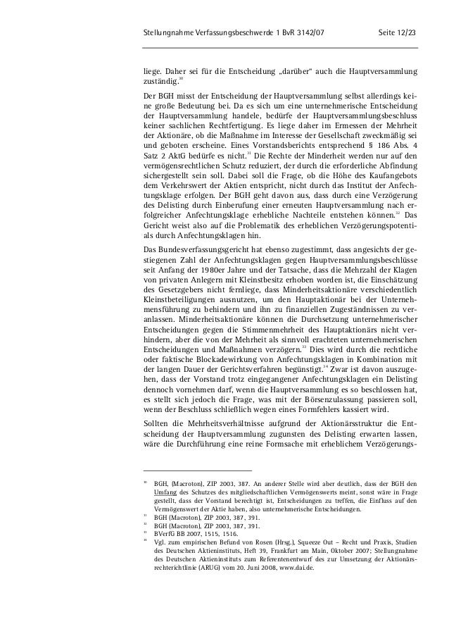 """Stellungnahme Verfassungsbeschwerde 1 BvR 3142/07 Seite 12/23  liege. Daher sei für die Entscheidung """"darüber"""" auch die Ha..."""