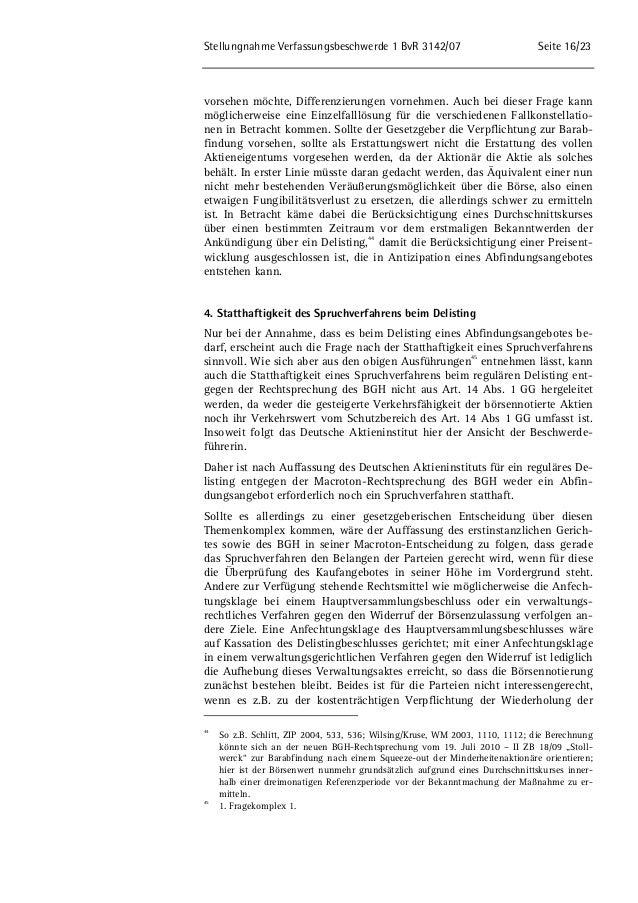 Stellungnahme Verfassungsbeschwerde 1 BvR 3142/07 Seite 16/23  vorsehen möchte, Differenzierungen vornehmen. Auch bei dies...