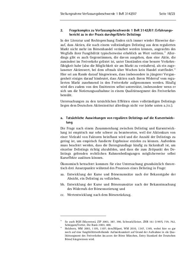 Stellungnahme Verfassungsbeschwerde 1 BvR 3142/07 Seite 18/23  2. Fragekomplex zu Verfassungsbeschwerde 1 BvR 3142/07: Erf...