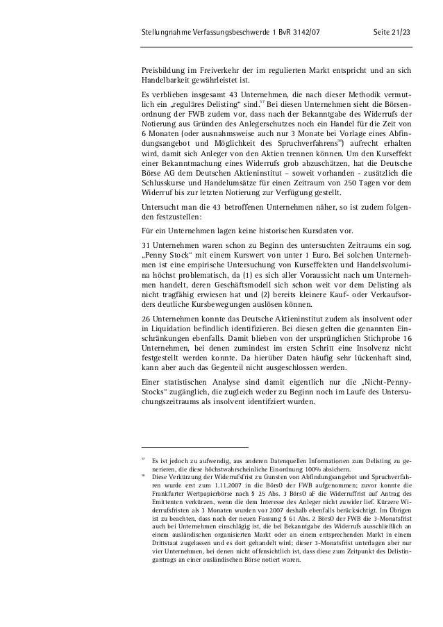 Stellungnahme Verfassungsbeschwerde 1 BvR 3142/07 Seite 21/23  Preisbildung im Freiverkehr der im regulierten Markt entspr...