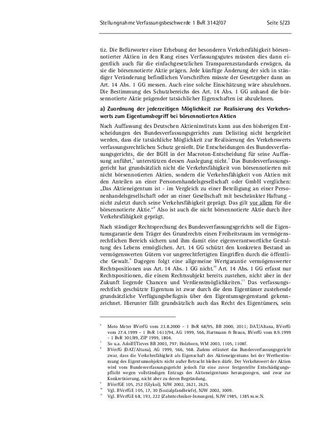 Stellungnahme Verfassungsbeschwerde 1 BvR 3142/07 Seite 5/23  tiz. Die Befürworter einer Erhebung der besonderen Verkehrsf...