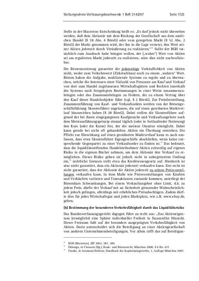 """Stellungnahme Verfassungsbeschwerde 1 BvR 3142/07 Seite 7/23  Stelle in der Macroton-Entscheidung heißt es: """"Es darf jedoc..."""