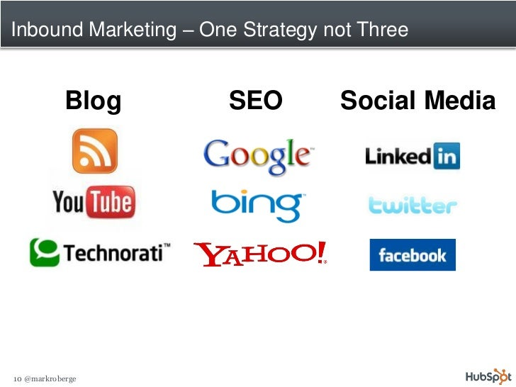 Inbound Marketing – One Strategy not Three               Blog       SEO        Social Media     10 @markroberge